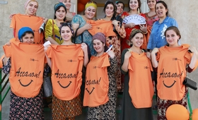 Pregnant women with T-Shirts for pregnants provided by UNFPA Tajikistan. ©Photo: UNFPA Tajikistan